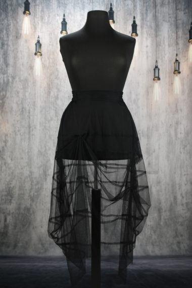 long skirt in black X pleated Creare tulle X