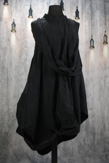 Robe longue sans manches en polyester noir Creare