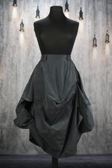 Jupe boule drapée grise en polyester Creare