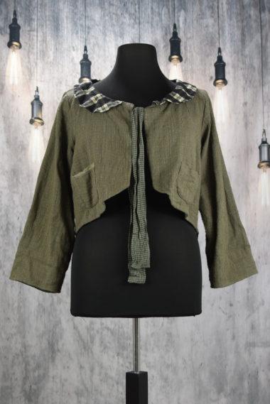 Les Ours veste courte en coton khadi chocolat Mael
